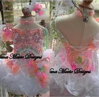 bebekler için beads toptan satış-2019 Sevimli Toddler Bir Çizgi Kızlar Glitz Pageant Elbiseler Boncuk Kristaller Çiçekler Tüy Organze Çiçek Kız Elbise Kek Elbiseler BA4804