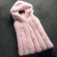 chaleco de piel con capucha negro al por mayor-Rosa de piel falsa chaleco de la capa del invierno de las mujeres de piel con capucha chaqueta de la capa kamizelka futerko forman la capa de chaleco largo de abrigo Negro Gris