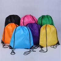 koşu poşetleri çantaları ücretsiz gönderim toptan satış-Toptan çocuk \ 'Katı renk İpli çanta erkek kız elbise ayakkabı çanta Okul Dondurulmuş Spor Salonu PE Dans Sırt DHL ücretsiz kargo