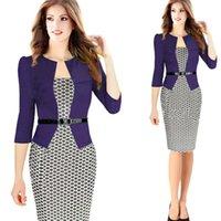 iş kıyafeti toptan satış-SıCAK Avrupa Istasyonu Kadınlar Elbise Yaz Avrupa Birleşik Devletleri Kafes Moda Iş kıyafetleri Casual Parti elbise