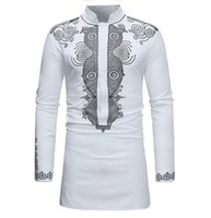 Wholesale dress repairs resale online - New Men s Long Sleeve Shirts Fashion African Clothes National Style Printing Youth Collar Repair Shirt Men Dress Shirts