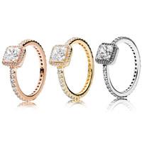 anillo cuadrado de 18k al por mayor-Auténtica plata de ley 925 cuadrada CZ Anillo de bodas de diamante Caja original para Pandora 18K Oro rosa elegancia atemporal Juego de anillos