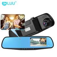 câmera escondem espelho venda por atacado-4,3 polegadas HD 720p carro DVR escondido câmera embutida Espelho Retrovisor Digital Video Recorder traço cam Dual Lens Camcorder