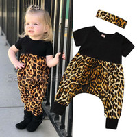 Wholesale hair accessories clothing for sale - Group buy Baby Girl Jumpsuit Suit Infant Girl Casual Clothes Onesies Sets Girls Leopard Short Sleeve Stitch Jumpsuit With Hair Accessories M