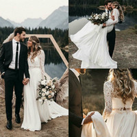 Wholesale high low wedding dresses lace sleeves for sale - Group buy Bohemian Beach Wedding Dresses with Long Sleeve Lace Two Pieces Bridal Gowns Low Back Western Country Outdoor Wedding Bride Gowns