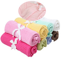 sommer neugeborene babydecke großhandel-Neugeborenen Babydecken Weiche Baumwolle Häkeln Sommerdecke Für Kinderbett Schlaf Bett Liefert Hohl Design 90x70 cm