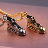 zapatos de cadena de oro de los hombres al por mayor-Venta caliente de moda joyería hombres mujeres collar diseñador collares zapatos de lujo colgante collar oro / plata caja collares de cadena