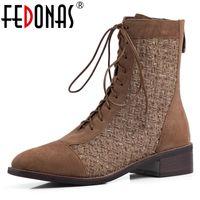 botas estilo euro venda por atacado-Fedonas Retro Euro Style Mulheres Cross-amarrado Mid-bezerro botas Party Night Clube Shoes Mulher Flock Quente Outono-Inverno botas de montaria 2020