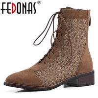 Wholesale euro style boots for sale - Group buy FEDONAS Retro Euro Style Women Cross tied Mid calf Boots Party Night Club Shoes Woman Flock Warm Autumn Winter Riding Boots