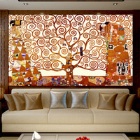 Wholesale oil painting trees living room for sale - Group buy Gustav Klimt Tree of Life Canvas Painting Wall Art Picture Classical Abstract Oil Paintings on canvas For Living Room Bedroom