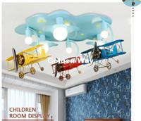 lâmpada do teto projeto quarto venda por atacado-Frete grátis Crianças Luzes Crianças lâmpada do teto Avião Projeto Decora Quarto Luz E27 110V 220V controle remoto incluído