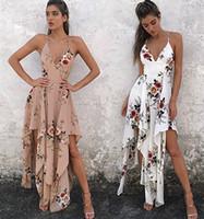 vestido branco boêmio xl venda por atacado-Moda boêmio verão sexy profundo v pescoço longo maxi dress estampa floral casual solto sem mangas elegante boho beach dress branco mulheres roupas