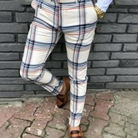 homem, quadris, sexy venda por atacado-New Mens Fashion Plaid calças dos homens de Streetwear Hip Hop Calças justas Chinos Calças Sexy Slim Fit Calças Casual Joggers Plus Size