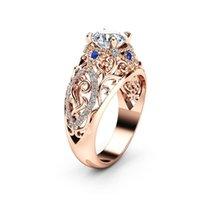 peridot 14k anillos de oro al por mayor-14 k de oro rosa cerca del anillo de diamante para las flores de las mujeres joyería de zafiro circonio anillo de diamante fino peridot piedras preciosas Bizuteria J 190430