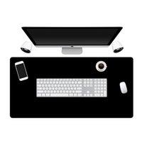 ingrosso grande mouse pad nero-Large Size Tutto cuscino nero Gaming Mouse Pad in gomma PC Computer Mousepad bloccaggio Bordo Ufficio intero nero Super Big Mat Desk