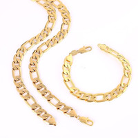 14 ayar sarı altın doldurma zinciri toptan satış-Sarı Altın Dolu 10mm Erkek Bileklik + Kolye Takı Seti Figaro Zincir (24