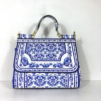 bolsos de cuero genuino blanco al por mayor-Las bolsas de asas blancas azules Bolso de las mujeres Bolso de cuero genuino