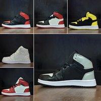 zapatos de baloncesto para niños a la venta al por mayor-Nike Air Jordan 1 Niños Zapatos de diseñador de moda de marca original zapatillas de deporte j1 1s jd 1 zapatillas altas de baloncesto blanco negro rojo azul gris venta barata