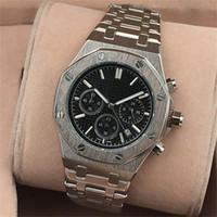 chronomètre achat en gros de-Mens montres tous les compteurs travail en acier inoxydable montres à quartz chronomètre montre de mode relogies pour hommes relojes horloge cadeau
