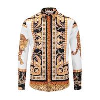 ropa de vestir de los hombres al por mayor-2019 nuevos hombres camisas casuales Medusa oro estampado floral para hombre camisa de vestir patrones Slim Fit camisas hombres moda negocios camisas ropa