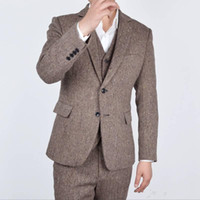 ingrosso sposo tweed maglia tuxedo-Nuovo arrivo Two Button Tweed Smoking dello sposo Notch Bavero Groomsmen Mens Wedding Prom Abiti da lavoro (Jacket + Pants + Vest + Tie) 474