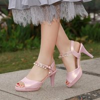 Wholesale pink bridesmaids sandals resale online - Fashion Summer Platform Sexy Patent Leather Ladies Shoes Women CM Chunky Heel Shoes Bridesmaid Heels Sandals