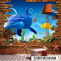 Wholesale chinese boards for sale - Group buy custom size d photo wallpaper living room bed room kids room mural dolphin brick wall board picture sofa TV backdrop wallpaper wall sticker