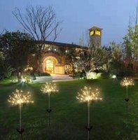 светодиодный фонарь оптовых-Солнечные огни фейерверков 120 светодиодные лампы строки водонепроницаемый напольное освещение сада газонные лампы рождественские украшения огни GGA2520