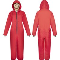 xxl papier großhandel-Halloween Kostüm Paper House Cosplay Dali Cosplay Kostüm Red Jumpsuit Paper House S-2XL für Erwachsene und Kinder