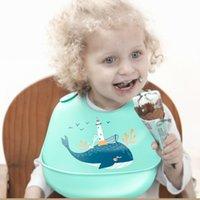 neue babyschürzen großhandel-12 Farben neues Design Baby-wasserdichtes Silikon Fütterung Babyspeicheltuch Neugeborenen Cartoon wasserdicht Schürzen Babylätzchen