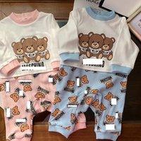 ingrosso corpo dei ragazzini-Tute a maniche lunghe con stampa a cuore di orso di bambino Tute a due pezzi per neonato a due pezzi per neonato