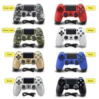 pc joystick usb venda por atacado-Para PS4 Controlador Gamepad USB Wired controlador de jogo para 4 DualShock Joystick Gamepads PS4 PC