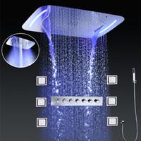 chorros de ducha de masaje corporal al por mayor-Sistema de grifos para la ducha en el baño SPA Misty Waterfall Rainfall Cabeza de ducha Mezclador termostático LED Ducha de lluvia con masaje Body Jets Set