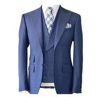 winter brautkleid wolle großhandel-Handsome Groomsmen Wollmischung Bräutigam Smoking Mens Hochzeitskleid Mann Jacke Blazer Prom Dinner 3-tlg. Anzug (Jacke + Hose + Tie + Weste) AA118