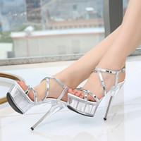 vestido modelo super venda por atacado-Novas Mulheres Quentes Sapatos de Plataforma Sandálias Super Salto Alto 15 CM À Prova D 'Água Do Sexo Feminino Sapatos de Casamento de Cristal Transparente Modelo Vestido Sapatos