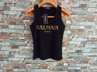siyah beyaz çizgili tank toptan satış-Balmain Bayan Tasarımcı T Shirt Moda Bayan Giyim Üst Kısa Kollu Kadın Tasarımcı Gömlek Tees Boyut S-L