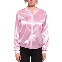 Wholesale polyester tracksuits for women resale online - Women Basic Coats Solid Tracksuit for Women Jacket Ladies Retro Jacket Women Fancy Dress Grease Costume Pink
