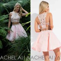 iki parça kısa lacivert elbise toptan satış-2020 Rachel Allan İki Adet Mezuniyet Elbiseleri Başlıca Boncuk Mücevher Boyun Kristal Boncuklu Lacivert Pembe Beyaz Kısa Kokteyl Parti Gowns