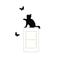 ingrosso interruttore di arte adesiva in vinile-Adesivi per gatti e farfalle in vinile Adesivi art deco in vinile