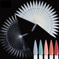 Wholesale acrylic nail shapes for sale - Group buy 24pcs set False Nail Art Display Acrylic Practice Fan shaped Nail Art Polish Color Card Detachable Practice DIY Tool HHA889