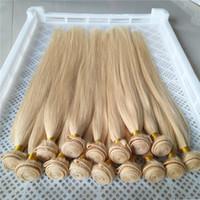 tissage de cheveux en malaisie achat en gros de-Platinum Blonde Couleur Malaysain Vierge Raides Cheveux Raides 100% Armure de Cheveux Humains 6a Unproessed Double Trame Cheveux Tissage