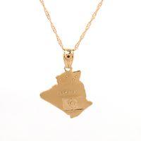 ingrosso catene in oro giallo-Algeria Map Pendant Necklace Chain 24K Yellow Gold Color Jewelry Algerians Women Girl Gift Articolo africano