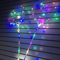 globos de corazon led al por mayor-LED love heart bobo balloon Regalos de San Valentín Led Luminous Light Up Balloon Globo de aire transparente para el banquete de boda Decoración del hogar