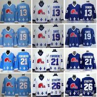 ingrosso jersey joe nordico nordico-Quebec Nordiques maglie di hockey su ghiaccio 13 Mats Sundin 21 Peter Forsberg 26 Peter Stastny 19 Joe Sakic di colore della squadra Blu Navy Bianco