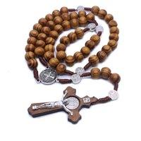 ingrosso catena di bead jesus-Nuovo stile 8 mm perlina rotonda rosario cattolico gesù croce collana pendenti perline di preghiera catena di perle gioielli di moda regalo per donna uomo m459a