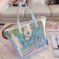 clutch bag druck großhandel-Klassische bunte Shell Bag Printing Eimer Handtaschen Clear Handtaschen Clutch Laser Flash PVC Kupplungen Designer Handtaschen Transparent Duffle Bag