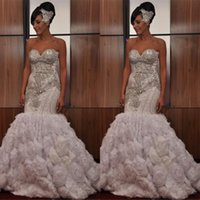Wholesale strapless court train wedding online - 2019 Stunning Strapless Sleeveless Crystal Beading Wedding Dresses Mermaid Ruffles Zipper Back Vintage African Bridal Gowns