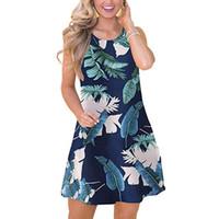 swing side achat en gros de-Date 2019 Femmes Casual Summer Boho Leaf Imprimé Swing Tank Dress avec poches latérales robes africaines pour femmes