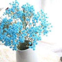 dekorasyon için büyük yapay çiçekler toptan satış-Mavi Pembe Sarı Yapay İpek Sahte Çiçekler Bebeğin nefes Çiçek Big Şubesi DIY Düğün Dekorasyon Parti Ev Stamen Çelenk