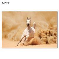 ölfarbe leinwand weißes pferd großhandel-Indoor Wandmalerei Dekor White Horse Running HD gedruckt Bild Home Decor für Wohnzimmer Tier Leinwanddruck Ölgemälde ungerahmt